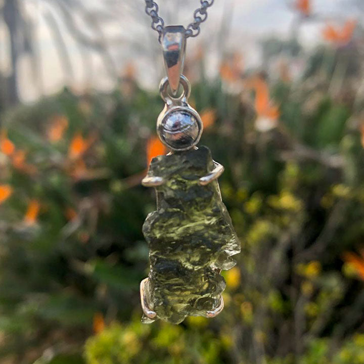 Natural Moldavite with Meteorite Cabochon 6.4 grams Pendant - Solid 925 Silver Setting