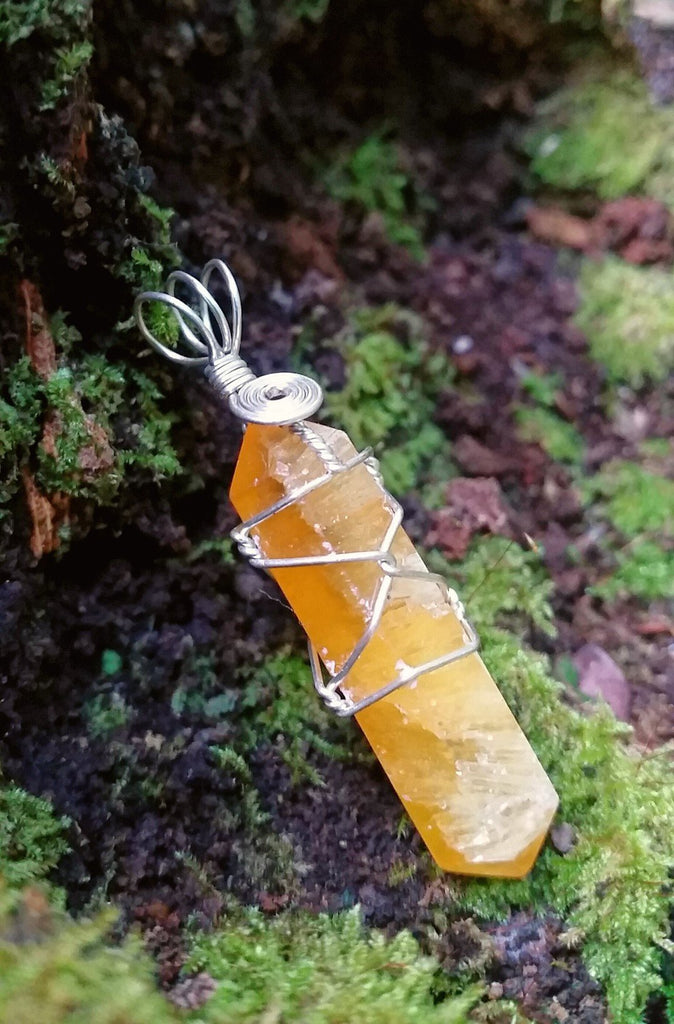 Yellow Calcite Silver Plated Wire Wrap from South Africa