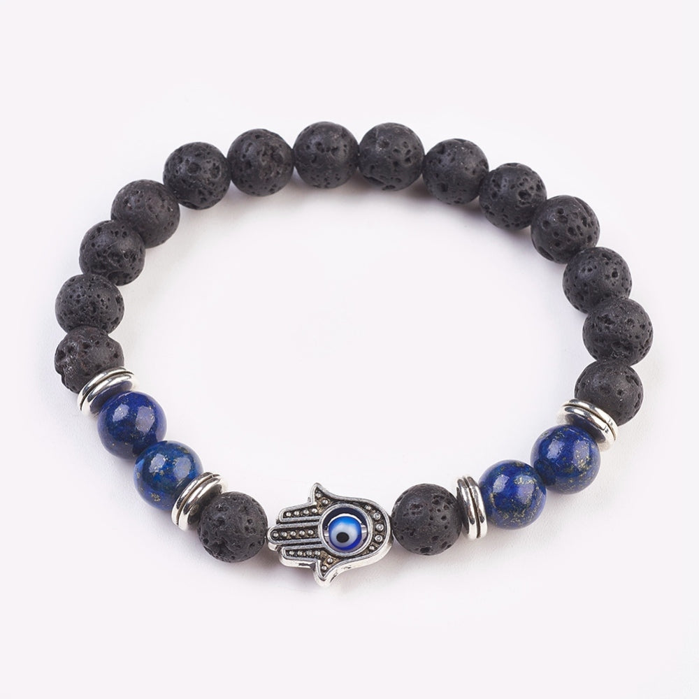 Natural Lapis Lazuli, Lava & Resin Beads Stretch Bracelets - Evil Eye, Tibetan Style Alloy Beads, Hamsa Hand (5cm Beads)