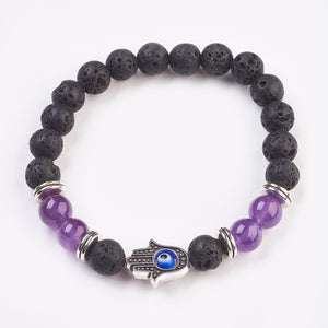 Natural Amethyst, Lava & Resin Beads Stretch Bracelets - Evil Eye, Tibetan Style Alloy Beads, Hamsa Hand (5cm Beads)