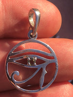 Faceted Moldavite Eye of Horus Pendant - 925 Silver