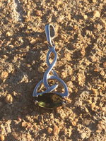 Faceted Moldavite Celtic Knot Pendant - 925 Silver
