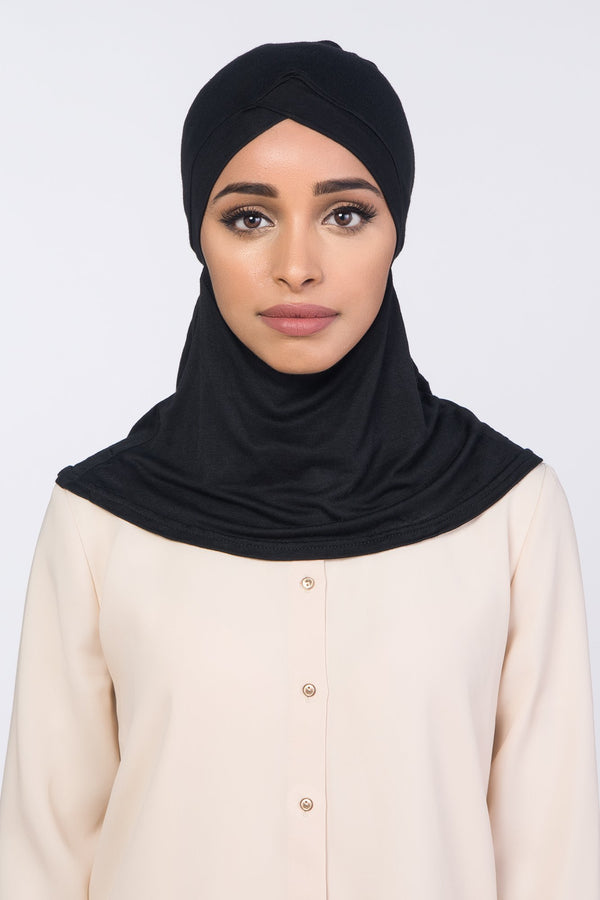 Hijab Underscarf | VOILE CHIC | Black Full Coverage Criss Cross Underscarf
