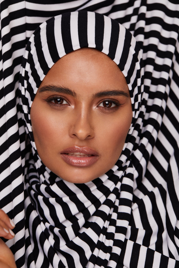 Black and White Striped Premium Jersey Hijab | VOILE CHIC | Jersey Hijab