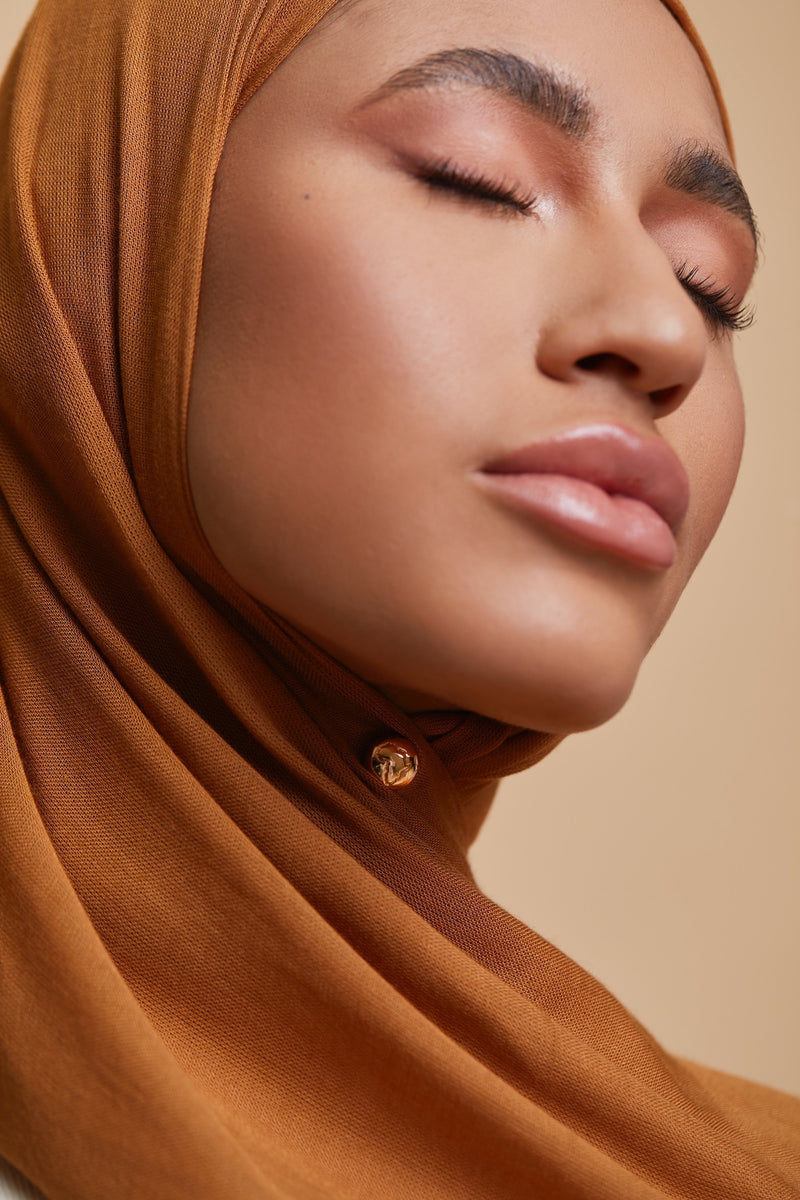 Breathable Modal Hijab - Mustard Bronze