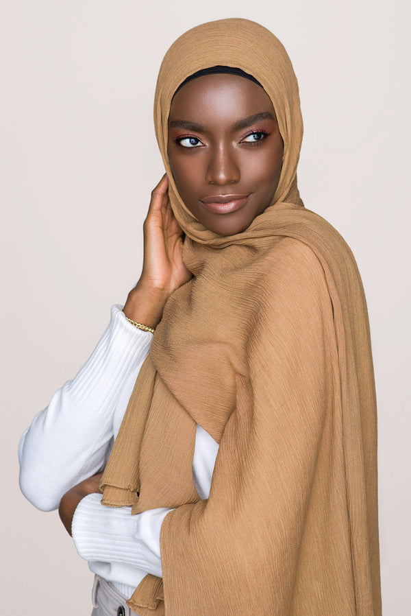 Crinkle Cotton Hijab - Bronze Brown