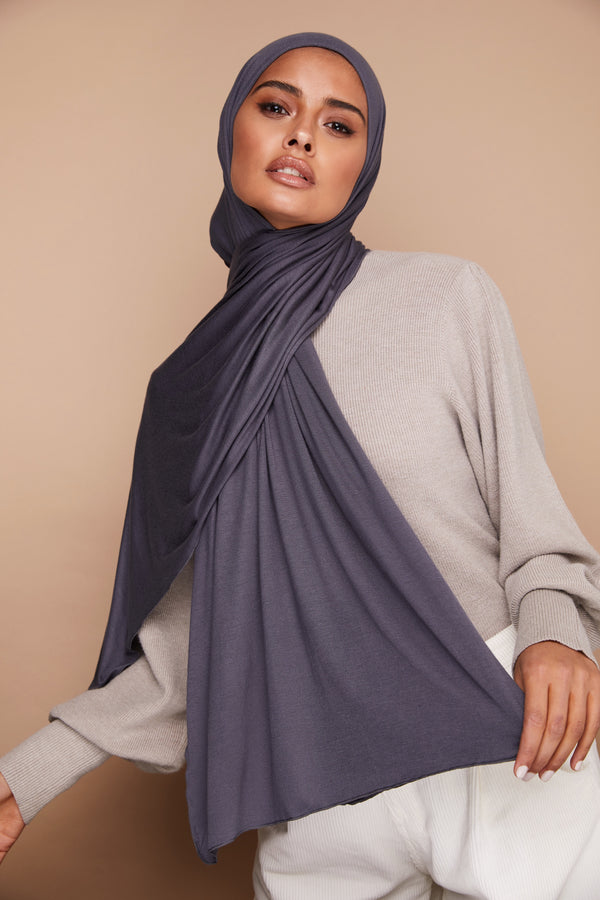 Charcoal Gray Premium Jersey Hijab | VOILE CHIC | Jersey Hijab