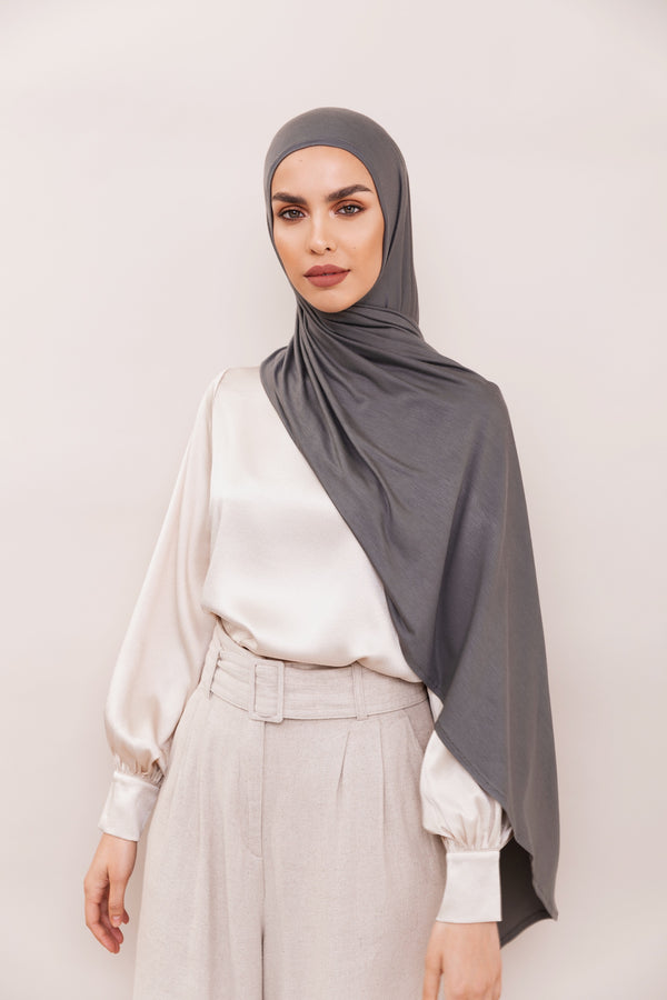 Charcoal Grey Instant Hijab | VOILE CHIC | Slip On Hijab