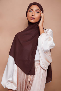 Premium Chiffon Hijab - Coffee Brown