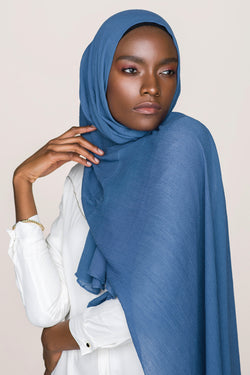 Crinkle Cotton Hijab - Galaxy Blue