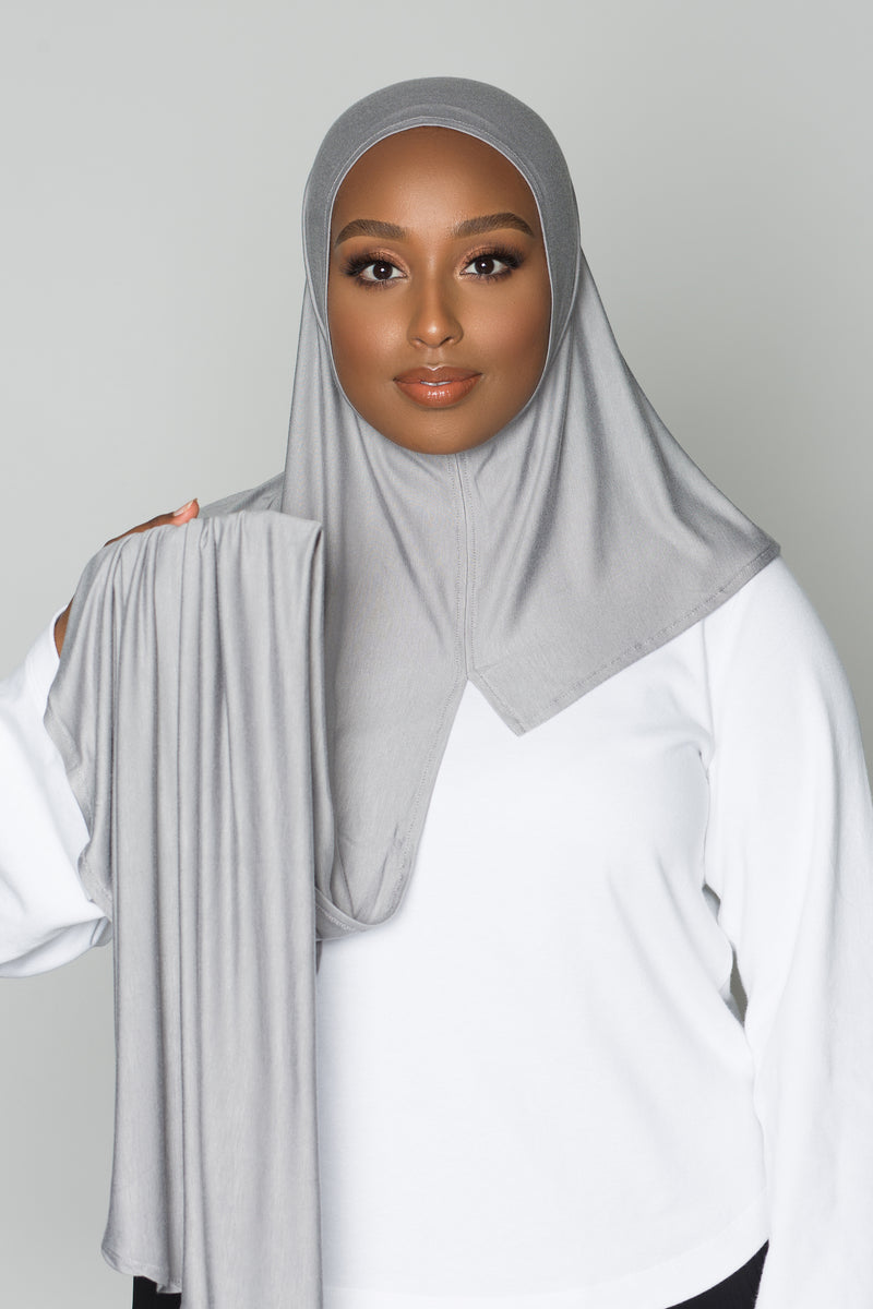 Chic Gray Instant Hijab | VOILE CHIC | Pre-Sewn Instant