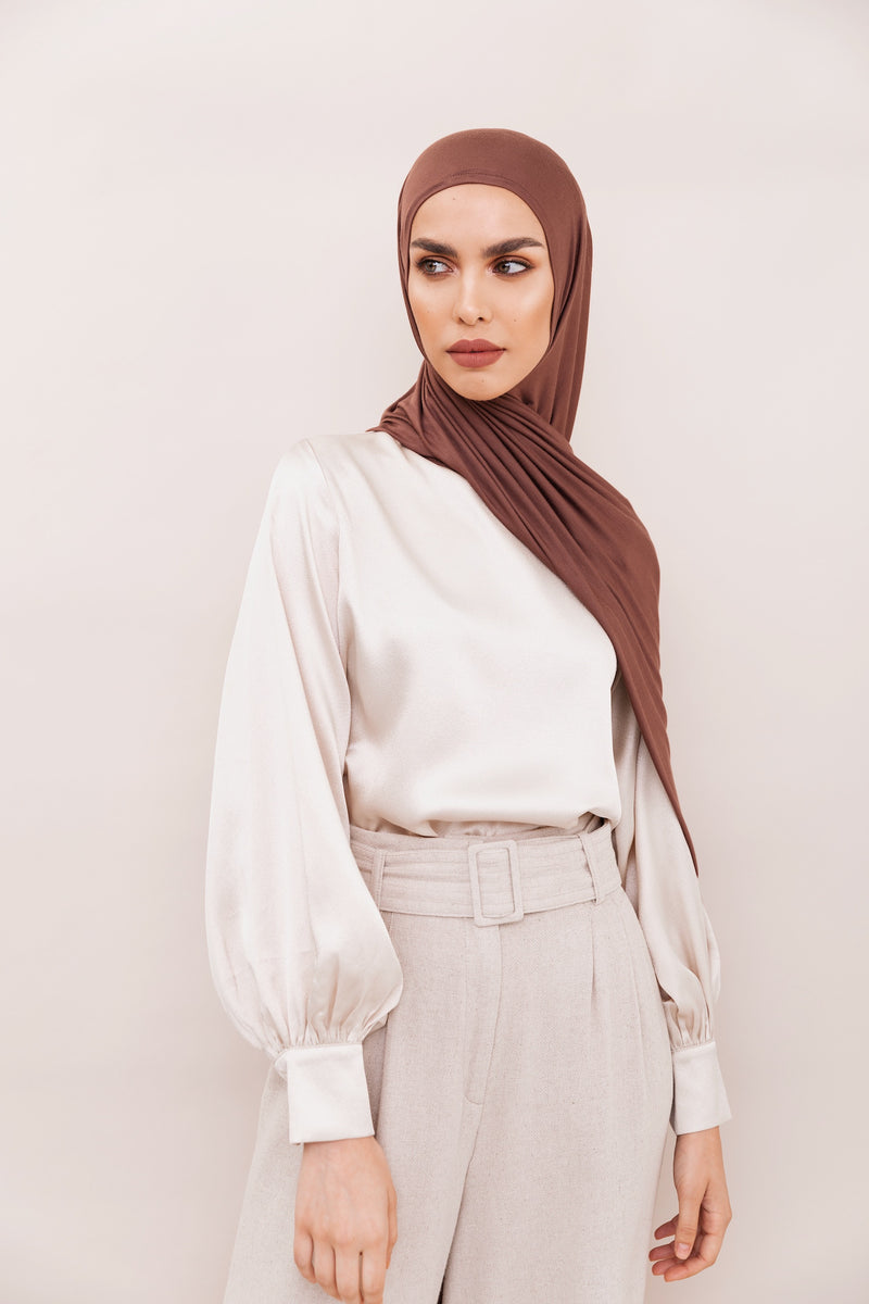 Mocha Brown Instant Hijab | VOILE CHIC | Slip On Hijab