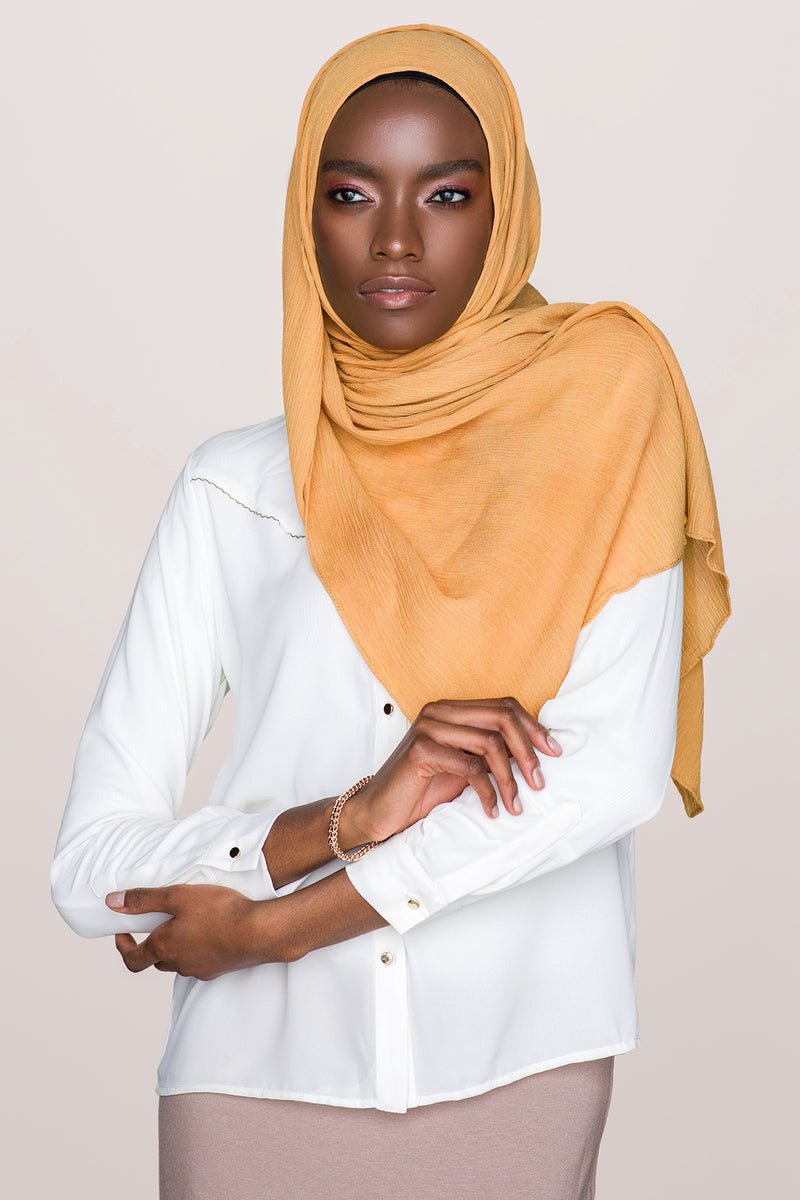 Crinkle Cotton Hijab - Gold Mustard