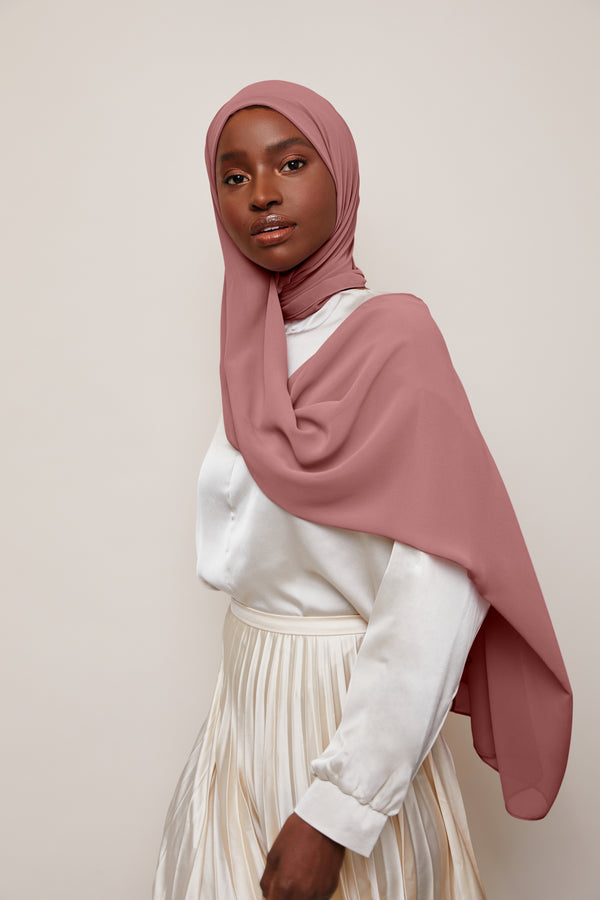 Dusty Rose Chiffon Hijab | VOILE CHIC | Luxury Chiffon