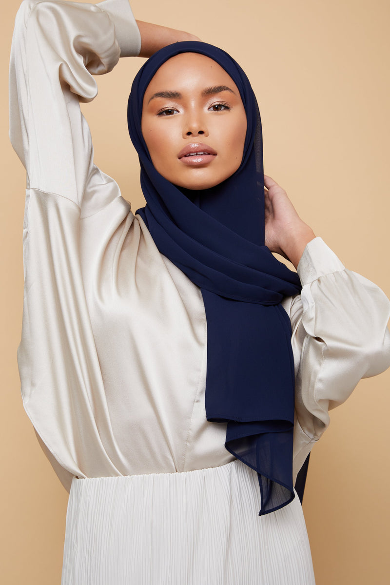 Small Luxury Chiffon Hijab - Navy Blue