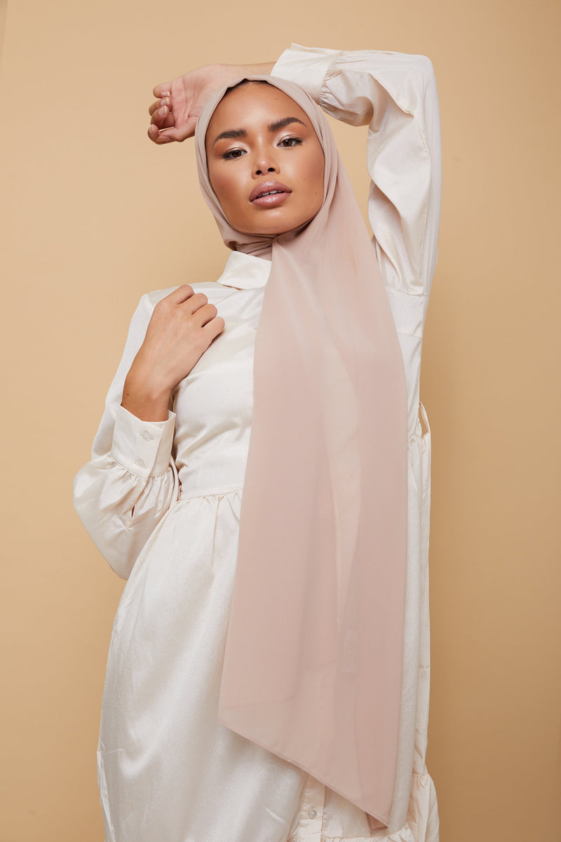 Small Luxury Chiffon Hijab - Nude