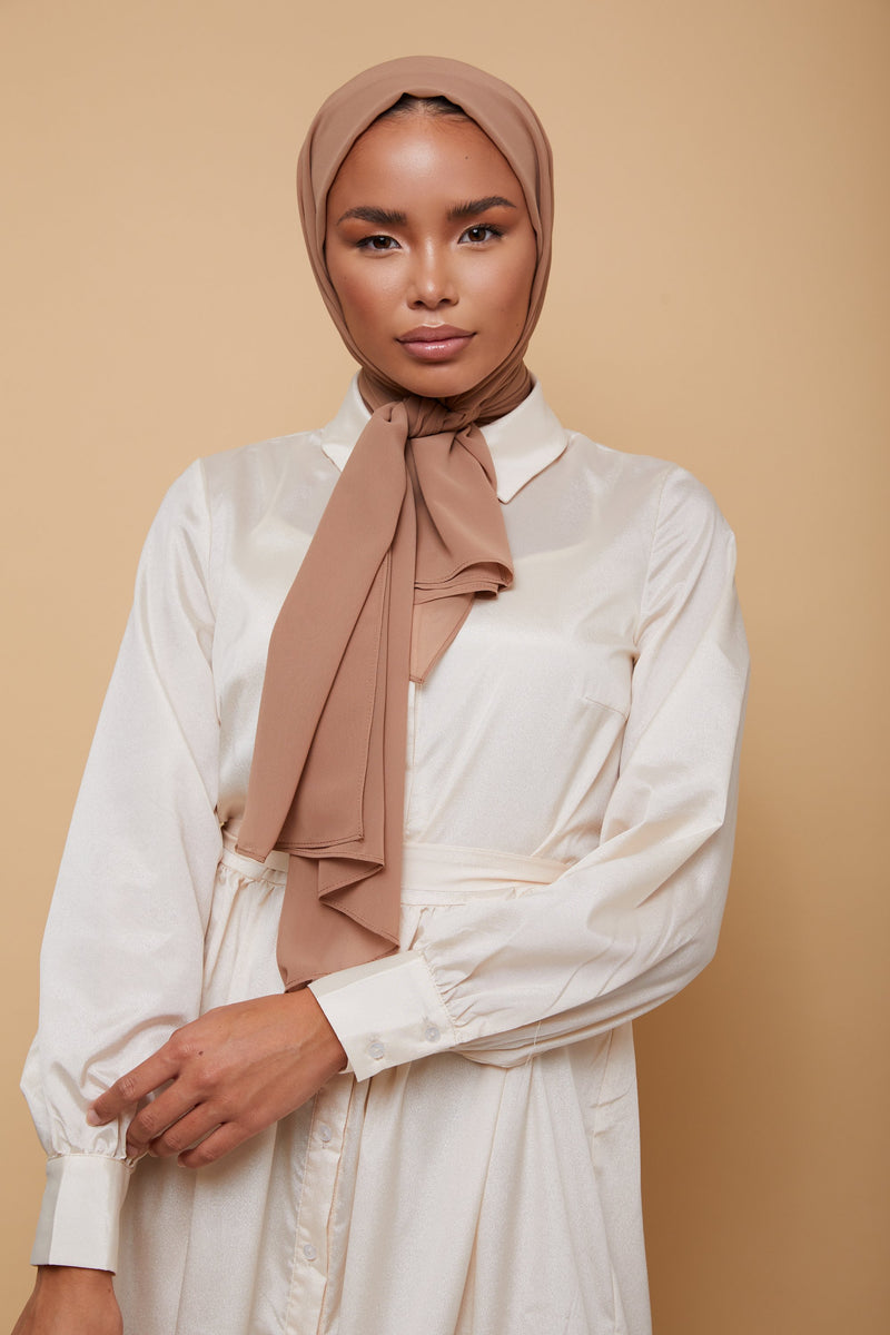 Small Luxury Chiffon Hijab - Light Taupe