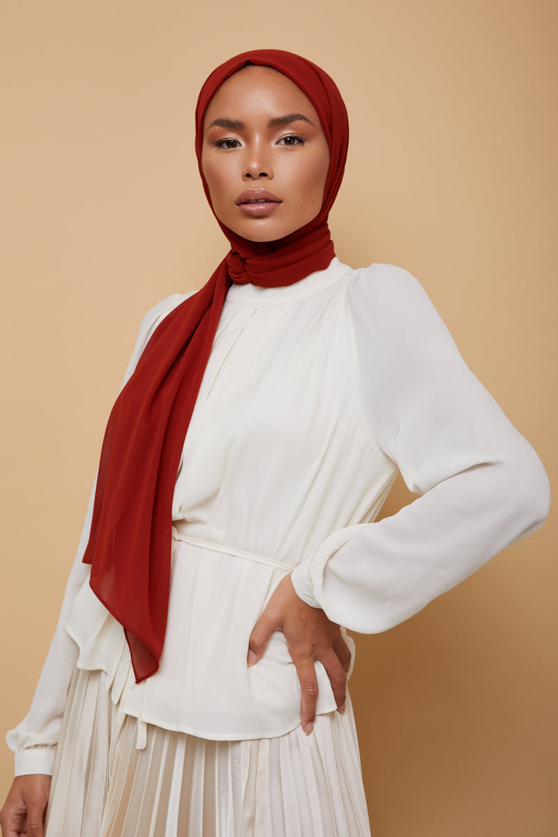 Small Luxury Chiffon Hijab - Rust