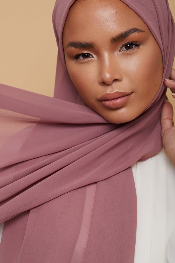 Small Luxury Chiffon Hijab - Dusty Rose