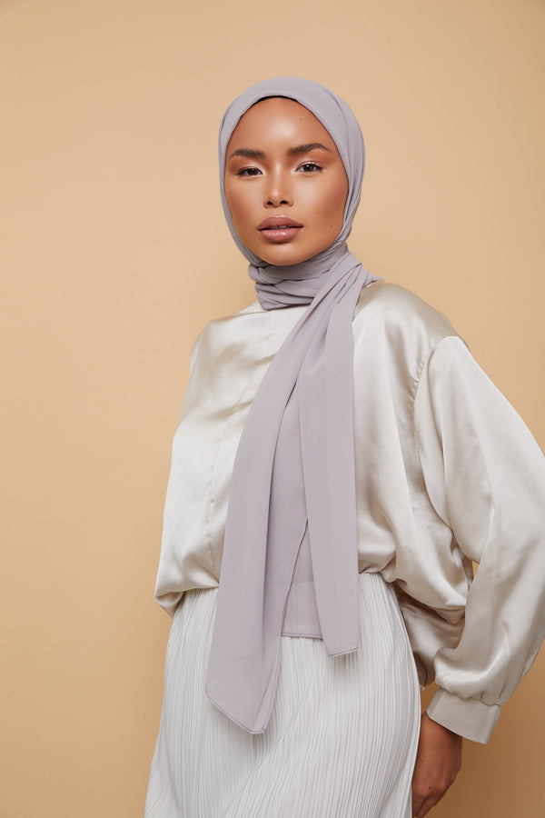 Small Luxury Chiffon Hijab - Warm Gray