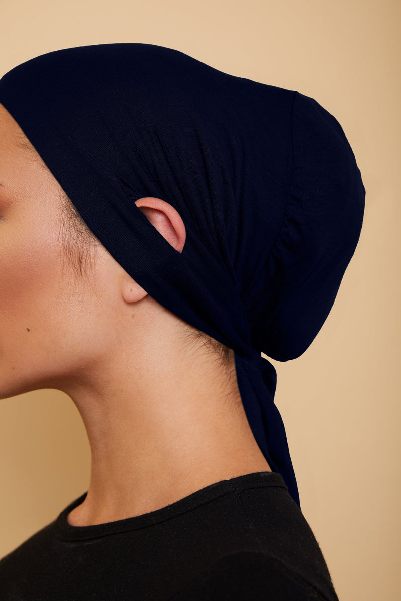 Ear Slit Under Scarf | Navy Blue