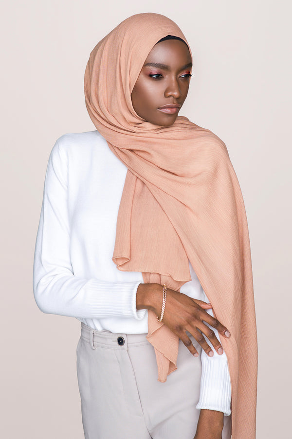 Crinkle Cotton Hijab - Tan