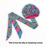 Blue Slip On Satin Lined Headwrap