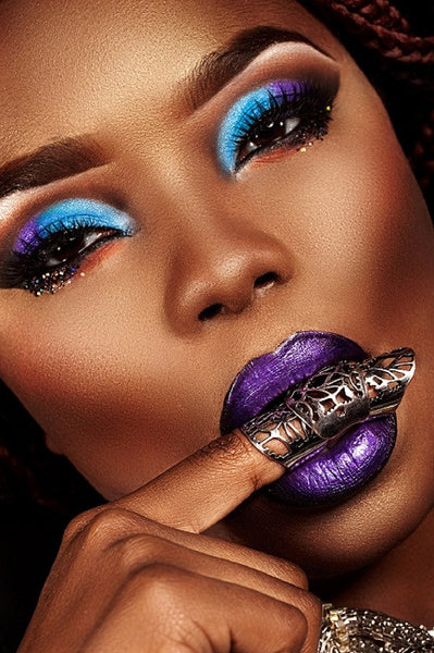 Purple & Black  Semi Matte Liquid Lips & Blue Eye Shadow - Glamorous Chicks Cosmetics