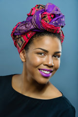 Wax print  Head wrap (Purple Only) - Glamorous Chicks Cosmetics