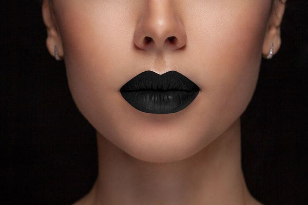 Lips -  - Midnight Black - Waterproof, smudge proof,  transfer proof,  and 24 hour stay BLACK Matte Liquid lipstick - Glamorous Chicks Cosmetics - 1