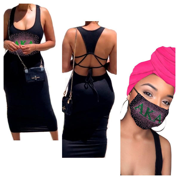 AKA Pink Headwrap, Mask and Dress