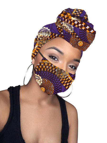 Imani Sankofa Cotton Gold Print African Head wrap and Mask