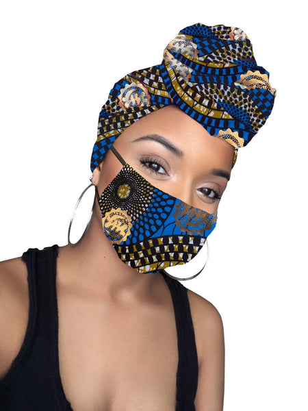 Zahara Sankofa Cotton Gold Print African Head wrap and Mask