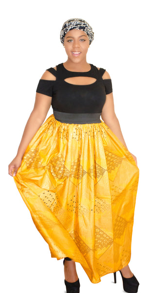 SKIN & HAIR CARE -  - Milan Yellow  African Maxi Skirt - Glamorous Chicks Cosmetics - 2
