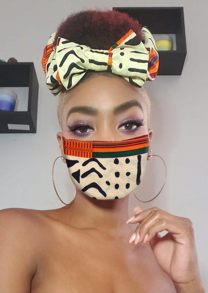 Tyra Pre Tie Satin Lined Slip On Headwrap Headband and Mask