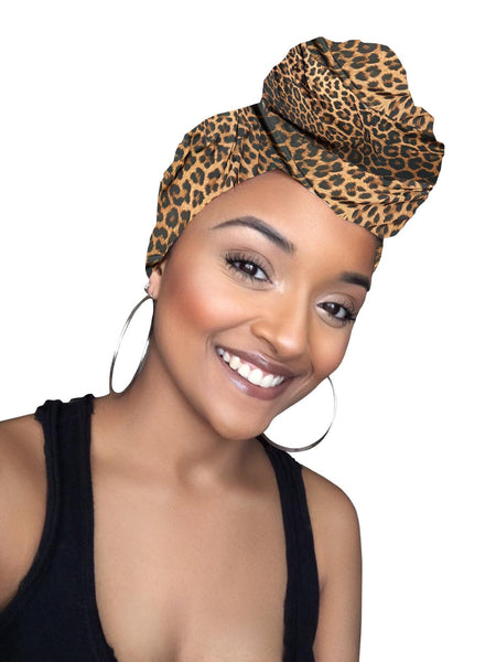 Sarai Cheetah Print Stretched Headwrap and Mask