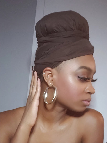 Brown Jersey Knit Stretched Fabric Slip On Headwrap