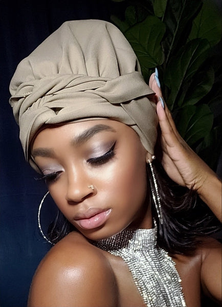 Khaki Slip On Satin Lined Headwrap and Mask