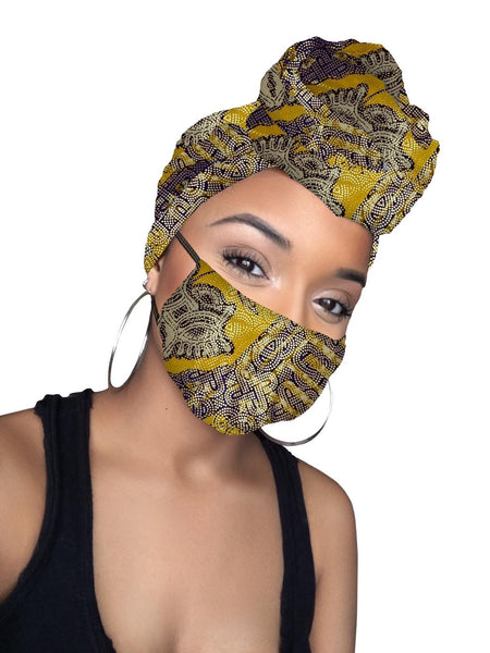 Bertie Limited Edition Holiday Gold Print African Headwrap and mask