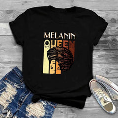 Melanin Queen Afro Black T-Shirt