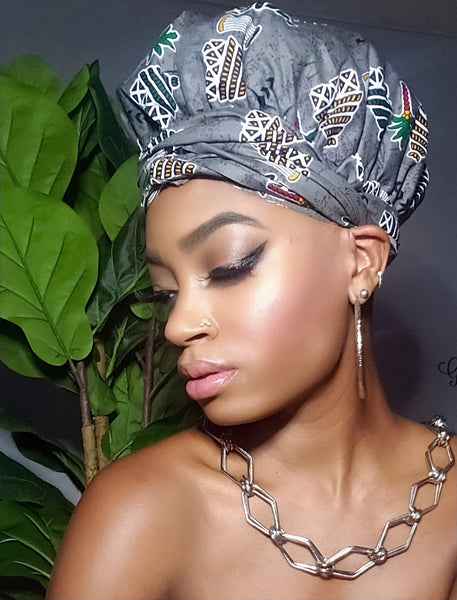 Your Greyness Slip On Satin Lined Headwrap and Mask
