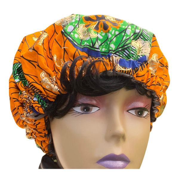 Chloe African Print Satin Lined Bonnet