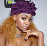 Solid Purple Slip On Satin Lined Headwrap and Mask