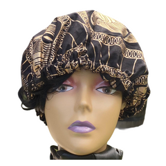 Black and Gold African Print Satin Lined Bonnet