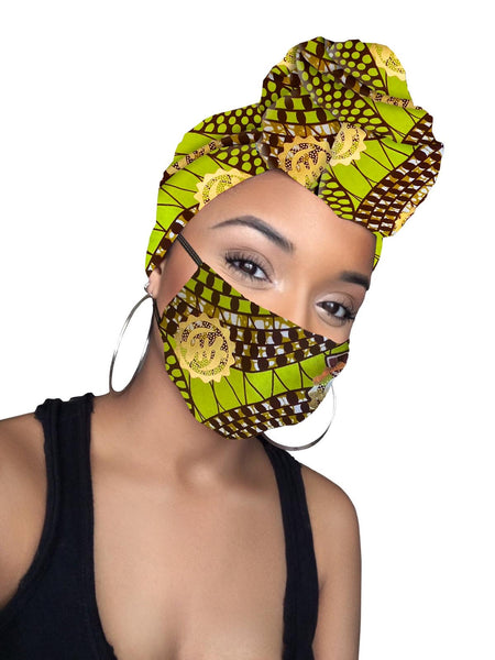 Sky Gye Nyame Cotton Gold Print African Headwrap and mask