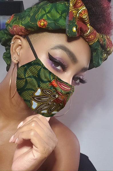 Sidni Pre Tie Satin Lined Slip On Headwrap Headband and Mask