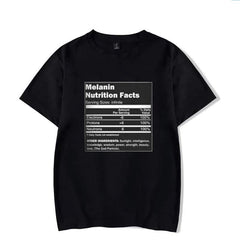 Melanin Nutritional Facts Print Black T-Shirt