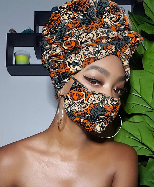 Bey Slip On Satin Lined Headwrap and Mask