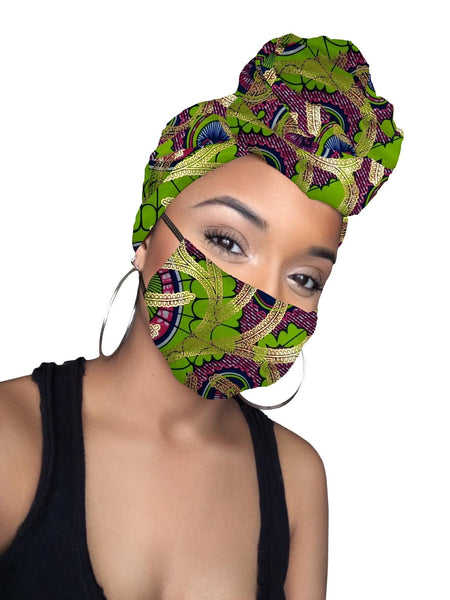 Rhea Limited Edition Holiday Gold Print African Headwrap and mask