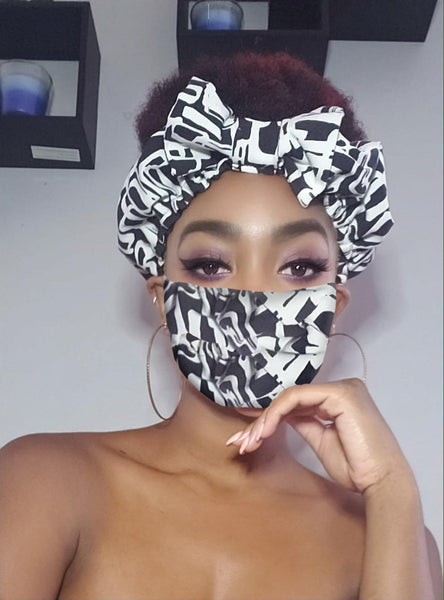 Chelsie Pre Tie Satin Lined Slip On Headwrap Headband and Mask